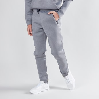 Textured Jog Pants with Zip Detail and Drawstring Waistband