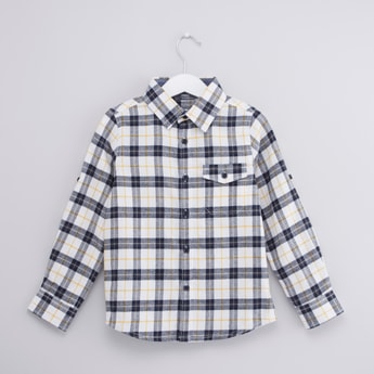 Chequered Shirt with Long Sleeves and Flap Pocket