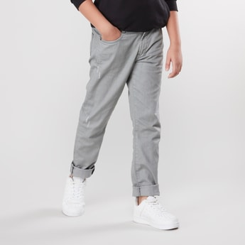 Textured Jeans with Pocket Detail and Belt Loops