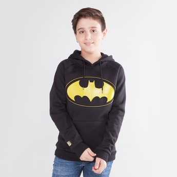 Batman Printed Sweatshirt with Long Sleeves and Hood