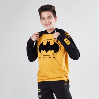 Batman Printed Hoodie with Raglan Sleeves