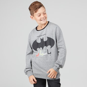 Batman Printed Sweatshirt with Long Sleeves