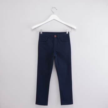 Solid Pants with Pocket Detail and Belt Loops