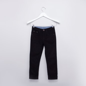 Full Length Textured Chinos with 5-Pockets and Button Closure