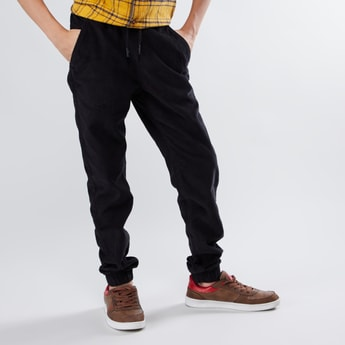 Corduroy Jog Pants with Pocket Detail and Drawstring