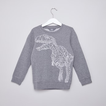 Graphic Printed Sweatshirt with Round Neck and Long Sleeves