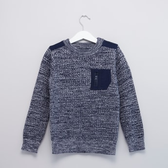 Textures Sweater with Round Neck and Long Sleeves