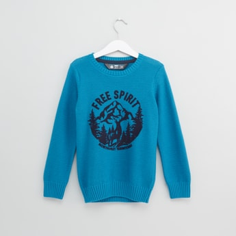 Jacquard Knit Sweater with Flock Print