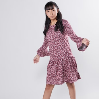 Leopard Print Round Neck Flare Dress with Long Sleeves