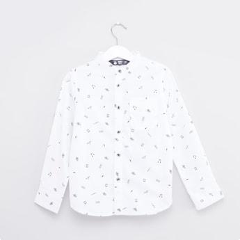 Printed Mandarin Collared Shirt with Long Sleeves and Pocket Detail