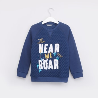 Quilted Printed Sweatshirt with Long Sleeves
