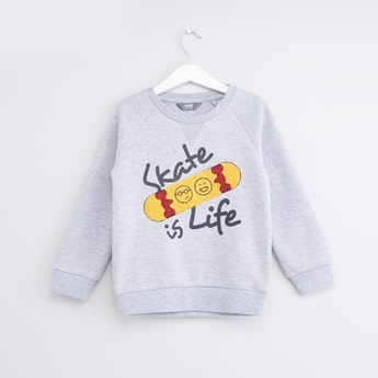 Printed Sweatshirt with Long Sleeves and Towel Embroidered Detail