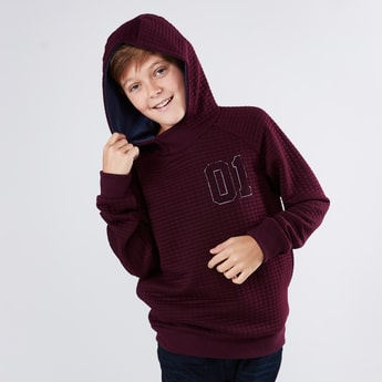 Quilted Sweatshirt with Long Sleeves and Hood