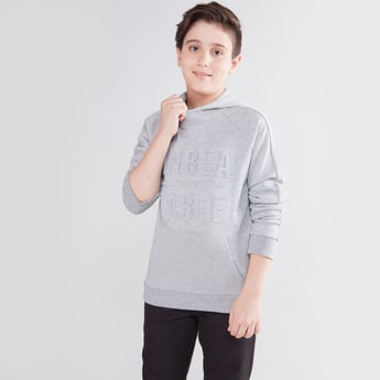 Embossed Sweatshirt with Raglan Sleeves and Hood