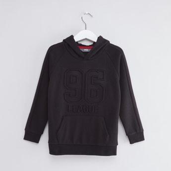 Embossed Long Sleeves Sweatshirt with Hood and Kangaroo Pockets