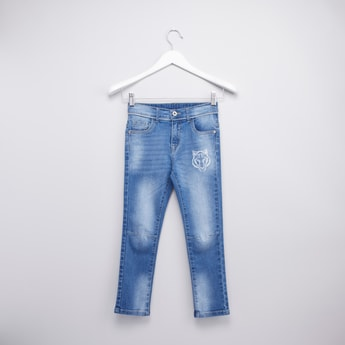 Printed Jeans with Pockets and Belt Loops