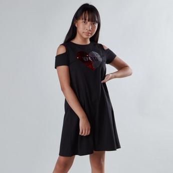 Cold Shoulder Dress with Sequin Detail