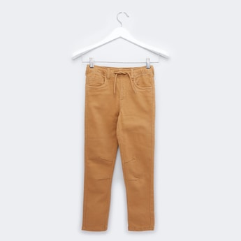 Textured Pants with 5-Pockets and Drawstring Closure