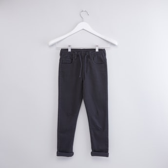 Solid Pants with Drawstring Closure and Pocket Detail