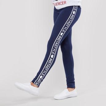 Full Length Leggings with Printed Side Tape