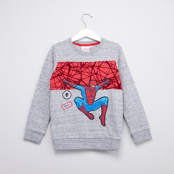 Spiderman Printed Sweatshirt with Round Neck and Long Sleeves