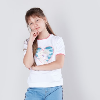 Frozen Sequin Detail T-shirt with Round Neck and Short Sleeves