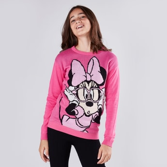 Minnie Mouse Textured Sweater with Round Neck and Long Sleeves
