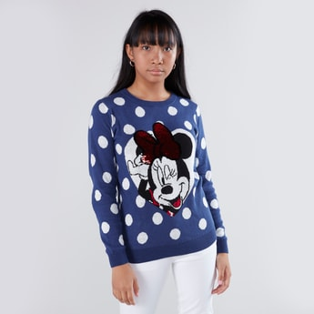 Minnie Mouse Printed Sweater with Round Neck and Sequin Detail