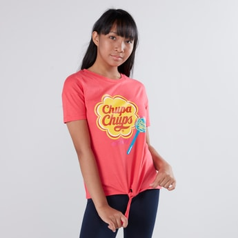 Chupa Chups Printed T-shirt with Short Sleeves and Tie Ups