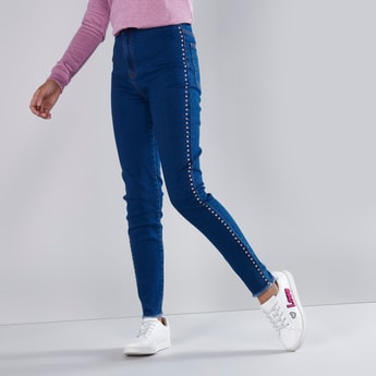 Embellished Full Length Jeans with Pocket Detail