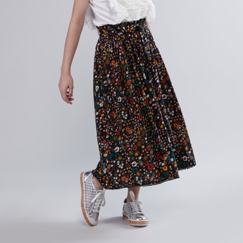 Floral Printed Maxi Skirt with Drawstring