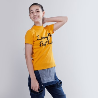 Textured T-shirt with High Neck and Short Sleeves
