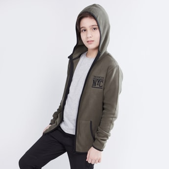 Embroidered Hoodie with Long Sleeves and Pockets