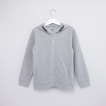 Textured Hoodie with Kangaroo Pockets and Long Sleeves
