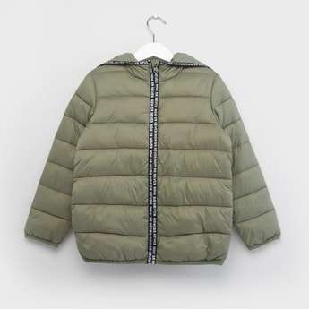 Quilted Jacket with Print Detail and Hood