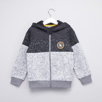 Speckle Knit Hoodie with Ribbed Hems and Long Sleeves