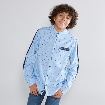 Printed Shirt with Long Sleeves and Tape Detail