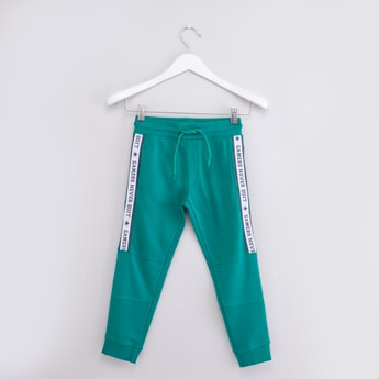 Textured Jog Pants with Side Tape Detail and Drawstring