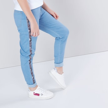 Full Length Jeans with Tape and Pocket Detail