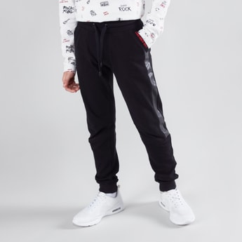 Plain Jog Pants with Elasticised Waistband and Tape Detail