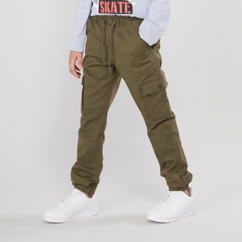 Solid Joggers with Pocket Detail and Drawstring Closure