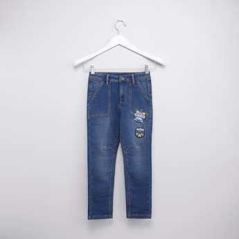 Textured Jeans with Pockets and Applique