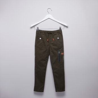 Plain Mid Rise Pants with Elasticated Drawstring Waistband