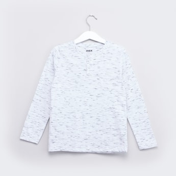 Printed Henley Neck T-shirt with Long Sleeves