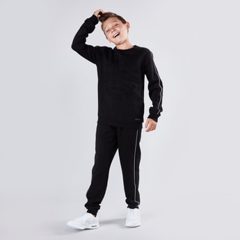 Embossed Round Neck Sweatshirt and Joggers Set
