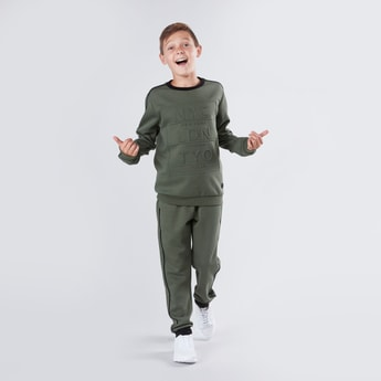 Embossed Sweatshirt with Full Length Jog Pants