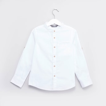Textured Shirt with Mandarin Collar and Roll-up Sleeves