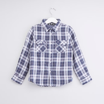 Checked Shirt with Buttoned Flap Pockets and Long Sleeves