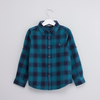 Checked Collared Shirt with Patch Pocket