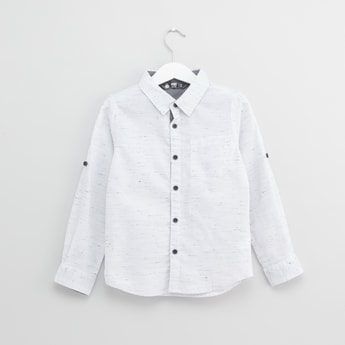 Printed Collared Shirt with Long Sleeves and Tabs